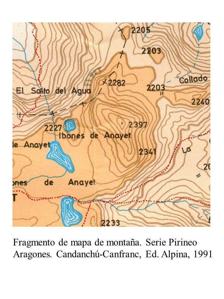 Fragmento de mapa de montaña. Serie Pirineo