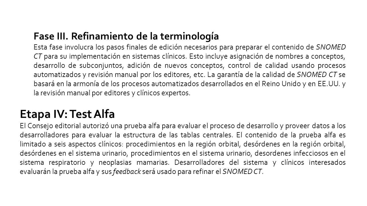 Etapa IV: Test Alfa Fase III. Refinamiento de la terminología