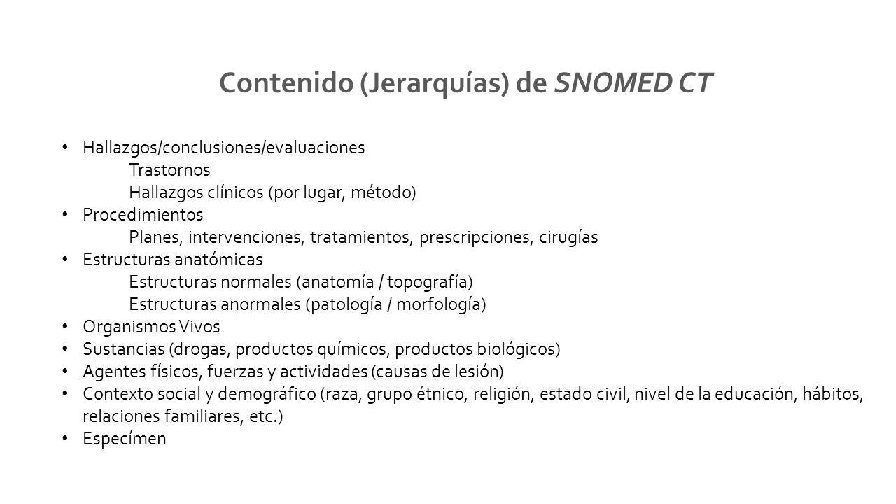 Contenido (Jerarquías) de SNOMED CT