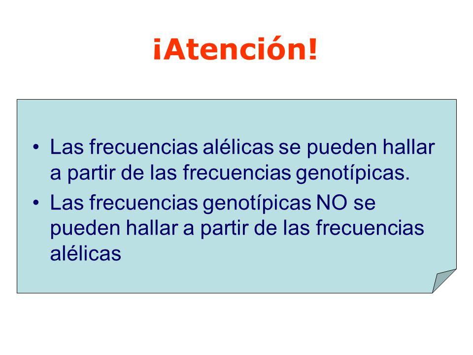 ¡Atención! Las frecuencias alélicas se pueden hallar a partir de las frecuencias genotípicas.