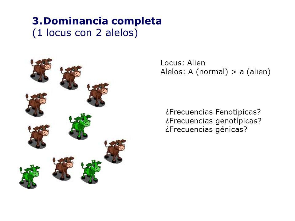 Dominancia completa (1 locus con 2 alelos) Locus: Alien