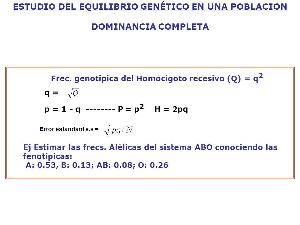 ESTUDIO DEL EQUILIBRIO GENÉTICO EN UNA POBLACION DOMINANCIA COMPLETA