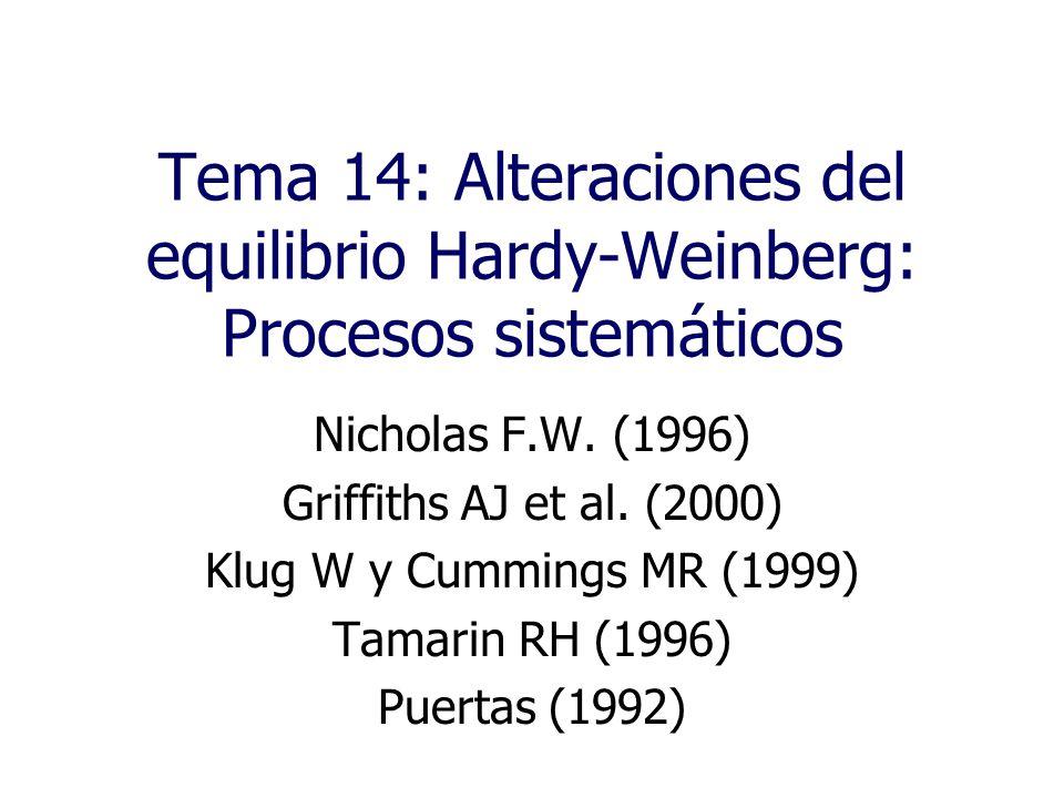 Tema 14: Alteraciones del equilibrio Hardy-Weinberg: Procesos sistemáticos
