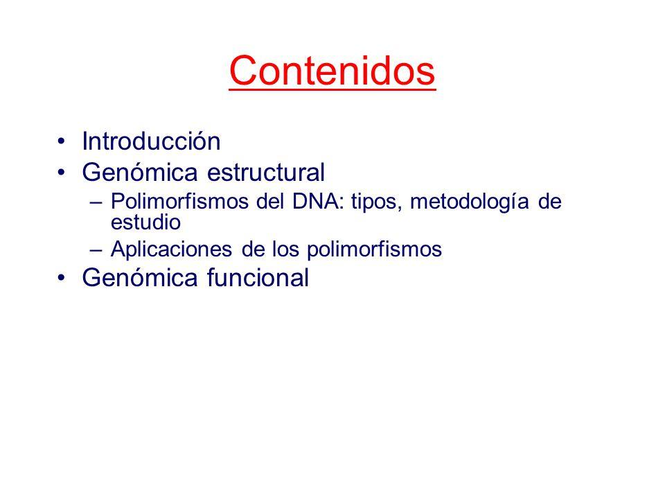 Contenidos Introducción Genómica estructural Genómica funcional