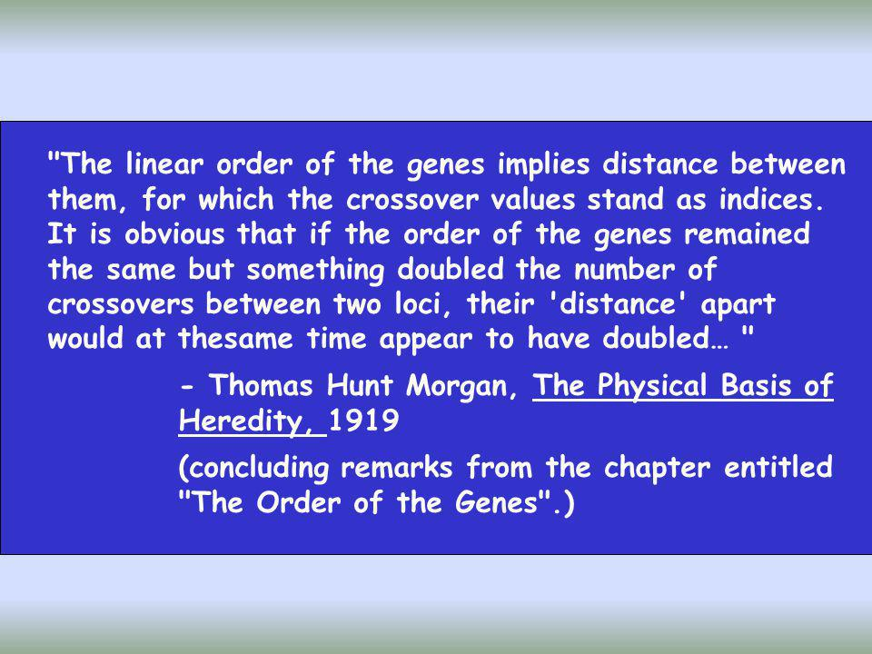 The linear order of the genes implies distance between them, for which the crossover values stand as indices. It is obvious that if the order of the genes remained the same but something doubled the number of crossovers between two loci, their distance apart would at thesame time appear to have doubled…