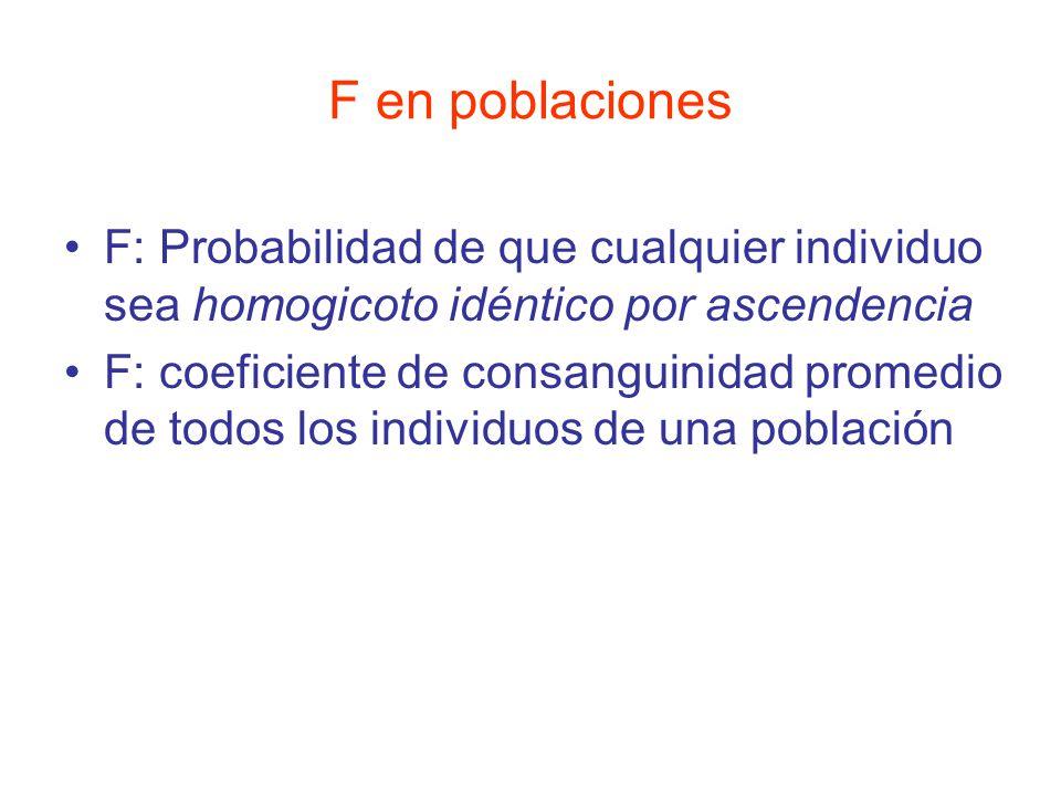 F en poblaciones F: Probabilidad de que cualquier individuo sea homogicoto idéntico por ascendencia.