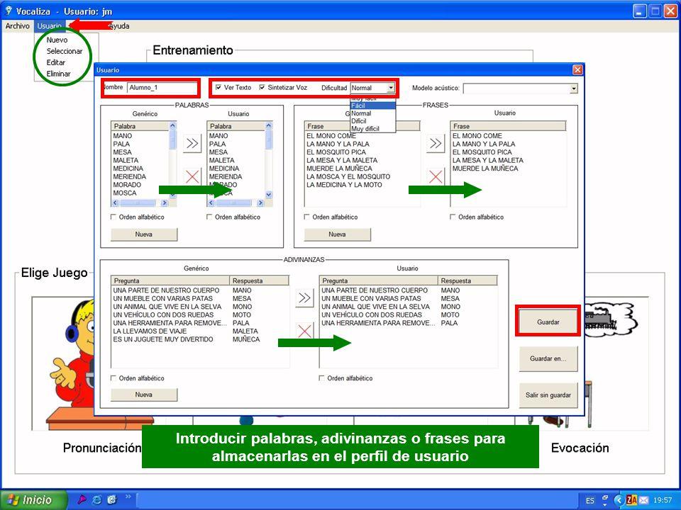 Introducir palabras, adivinanzas o frases para almacenarlas en el perfil de usuario