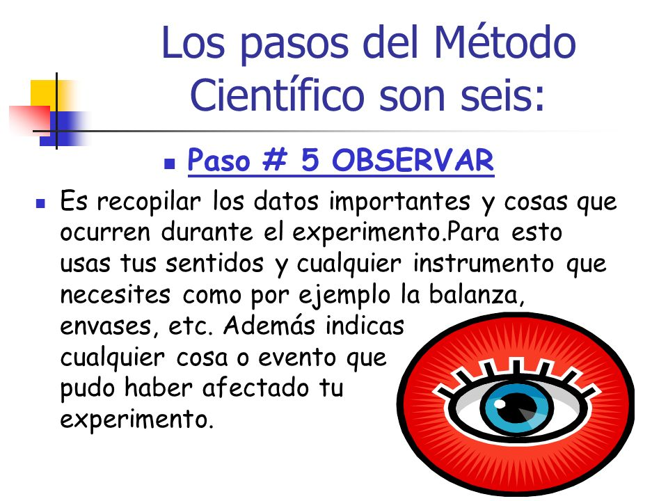 Los pasos del Método Científico son seis: