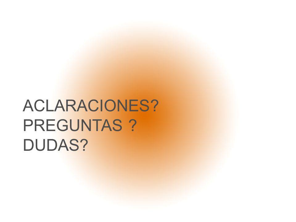 ACLARACIONES PREGUNTAS DUDAS
