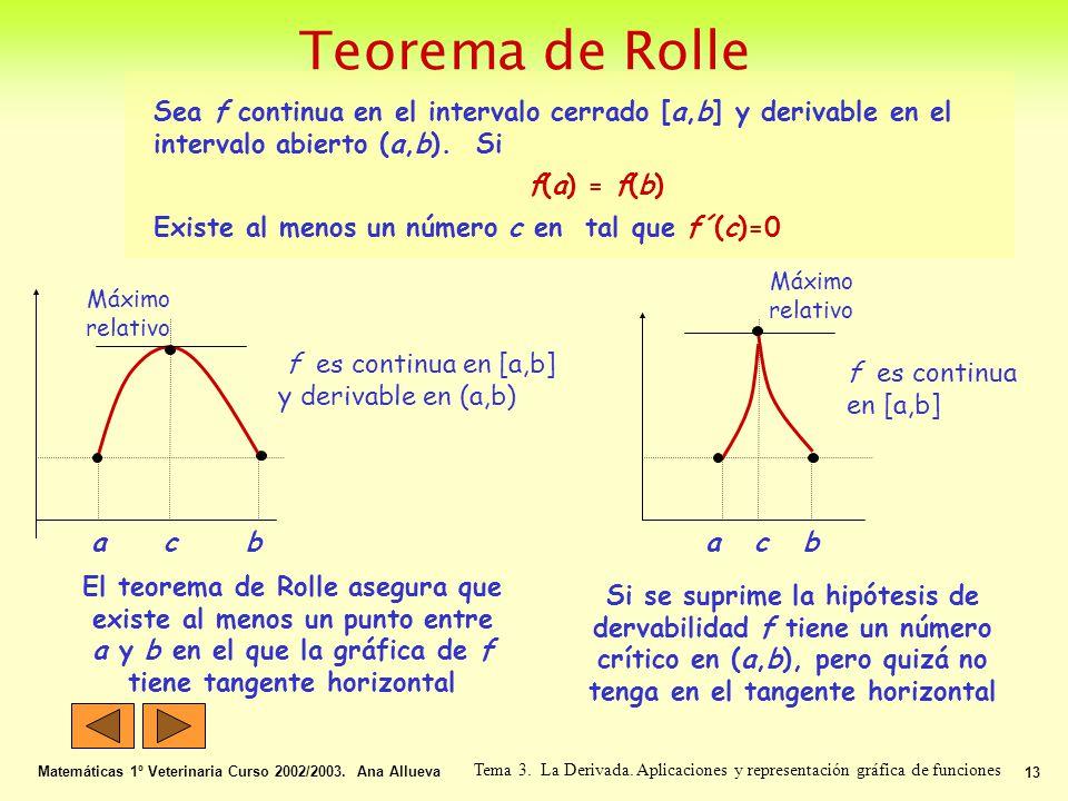 Matemáticas 1º Veterinaria Curso 2002/2003. Ana Allueva