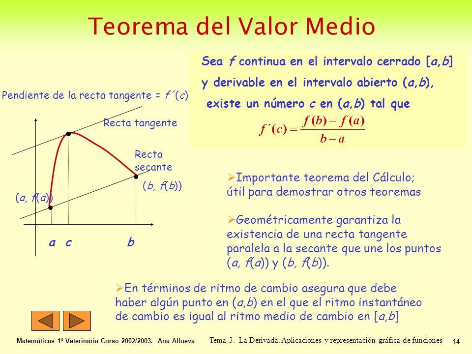 Teorema del Valor Medio