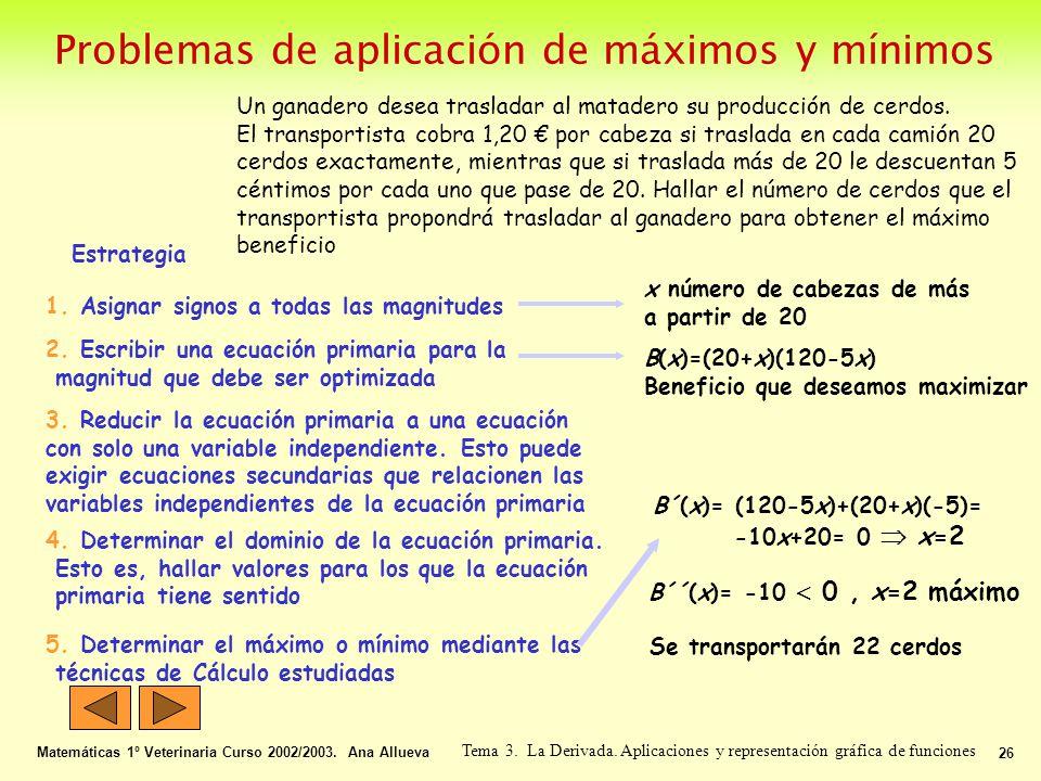 Problemas de aplicación de máximos y mínimos
