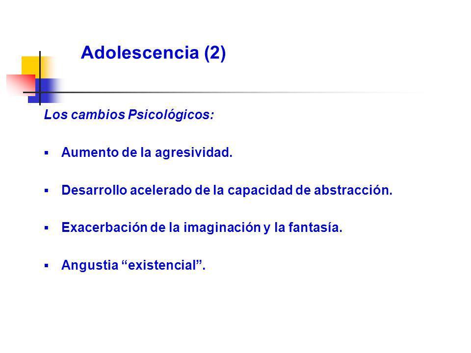 Adolescencia (2) Los cambios Psicológicos: Aumento de la agresividad.