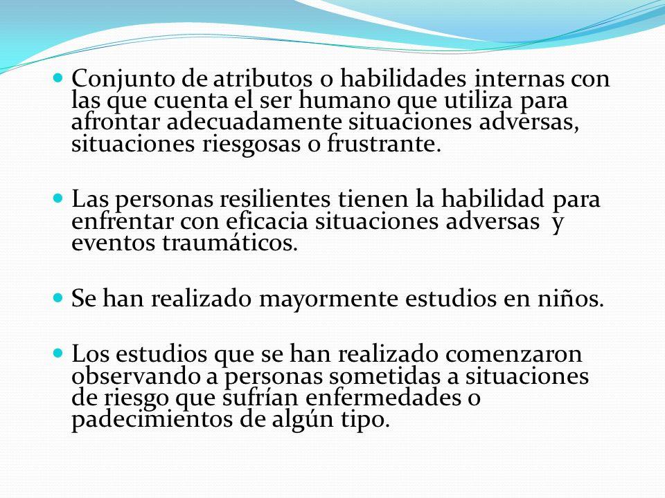 Conjunto de atributos o habilidades internas con las que cuenta el ser humano que utiliza para afrontar adecuadamente situaciones adversas, situaciones riesgosas o frustrante.