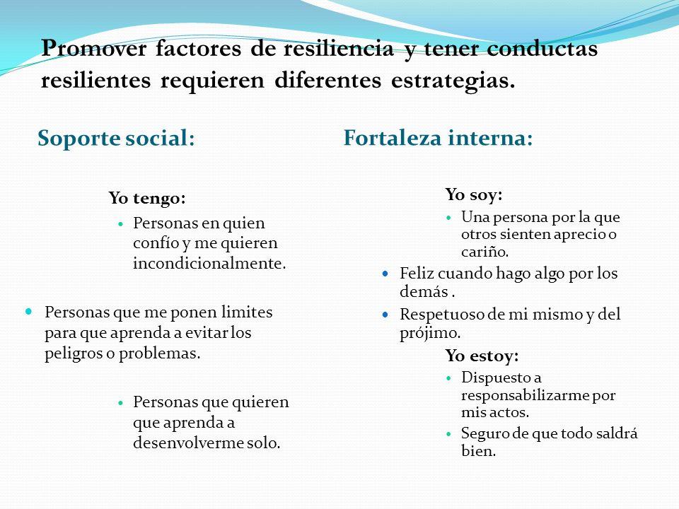 Promover factores de resiliencia y tener conductas resilientes requieren diferentes estrategias.