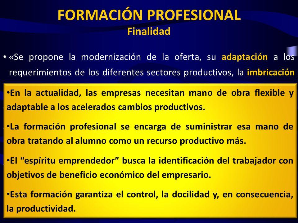 FORMACIÓN PROFESIONAL Finalidad