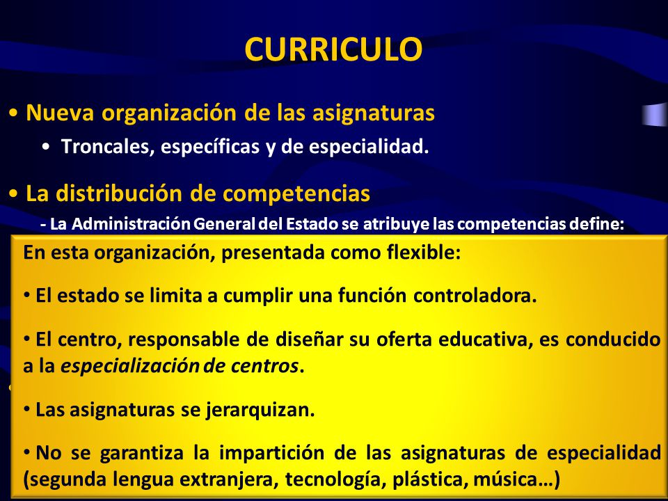 CURRICULO Nueva organización de las asignaturas