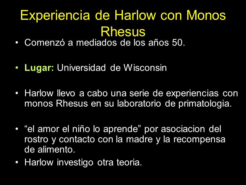 Experiencia de Harlow con Monos Rhesus