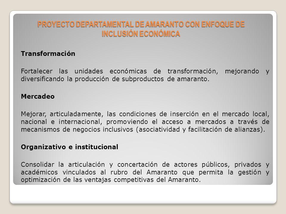 PROYECTO DEPARTAMENTAL DE AMARANTO CON ENFOQUE DE INCLUSIÓN ECONÓMICA