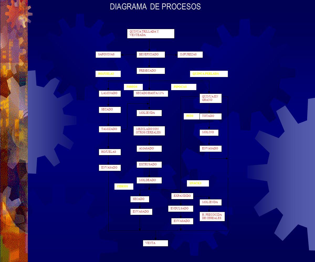 DIAGRAMA DE PROCESOS QUINUA TRILLADA Y VENTEADA SAPONINAS BENEFICIADO