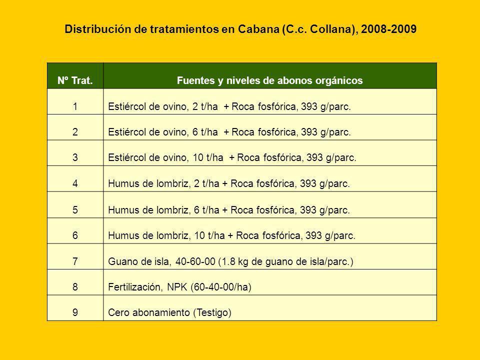 Distribución de tratamientos en Cabana (C.c. Collana), 2008-2009
