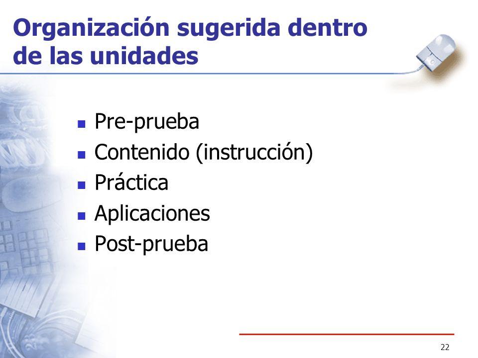 Organización sugerida dentro de las unidades