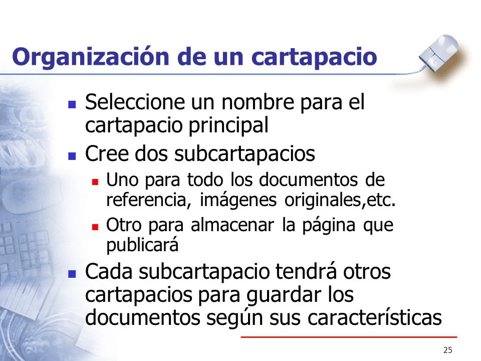 Organización de un cartapacio