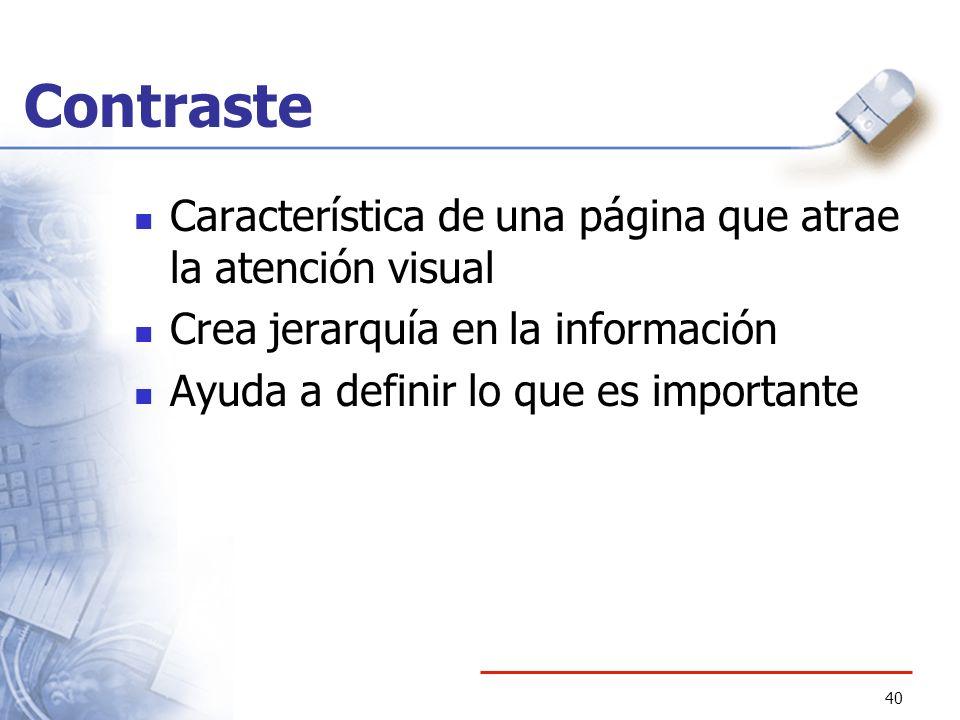 Contraste Característica de una página que atrae la atención visual