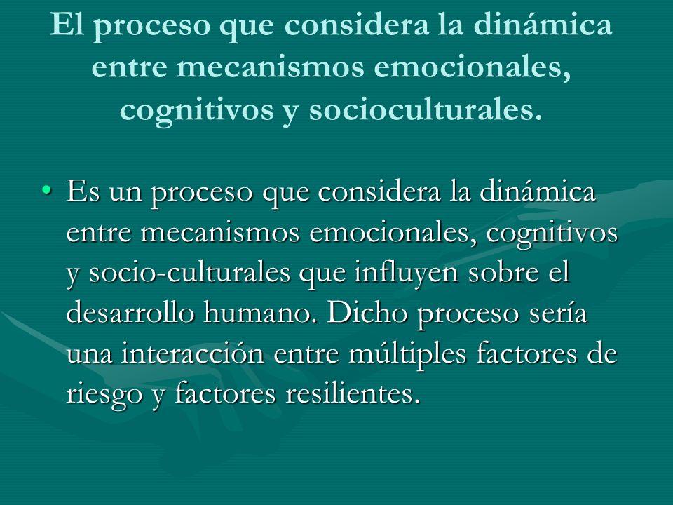 El proceso que considera la dinámica entre mecanismos emocionales, cognitivos y socioculturales.