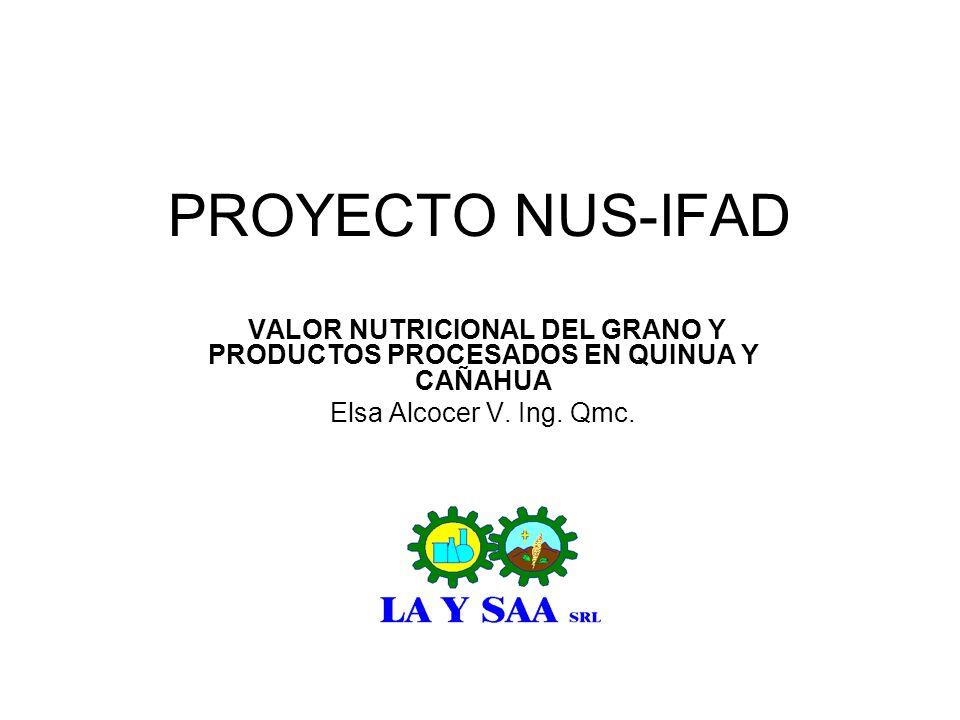 VALOR NUTRICIONAL DEL GRANO Y PRODUCTOS PROCESADOS EN QUINUA Y CAÑAHUA