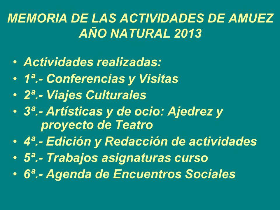 MEMORIA DE LAS ACTIVIDADES DE AMUEZ AÑO NATURAL 2013