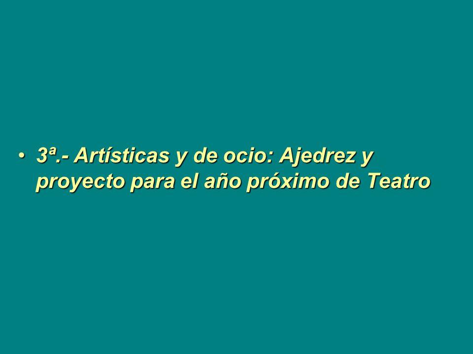 3ª.- Artísticas y de ocio: Ajedrez y proyecto para el año próximo de Teatro