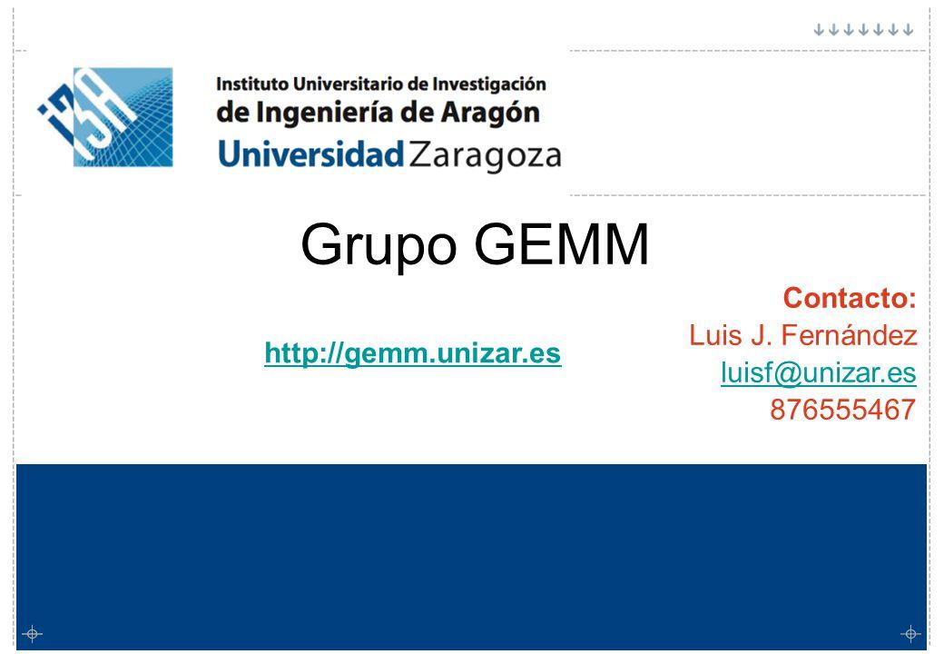 Grupo GEMM Grupo GEMM Contacto: Luis J. Fernández luisf@unizar.es