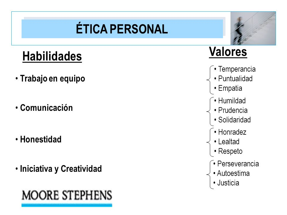 ÉTICA PERSONAL Valores Habilidades