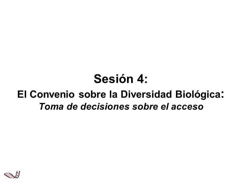 Sesión 4: El Convenio sobre la Diversidad Biológica: Toma de decisiones sobre el acceso
