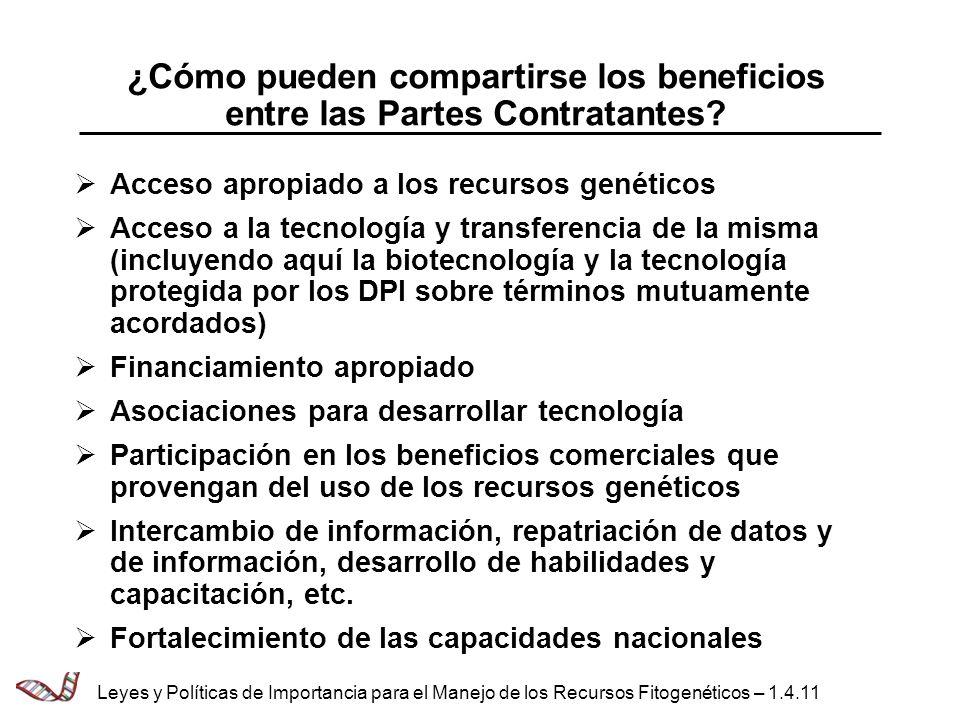 ¿Cómo pueden compartirse los beneficios entre las Partes Contratantes