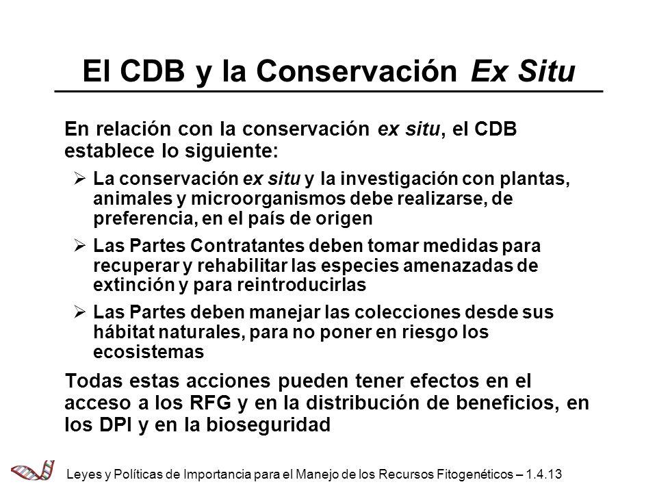 El CDB y la Conservación Ex Situ