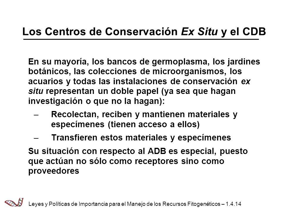 Los Centros de Conservación Ex Situ y el CDB
