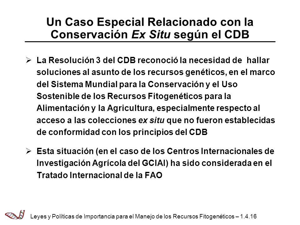 Un Caso Especial Relacionado con la Conservación Ex Situ según el CDB