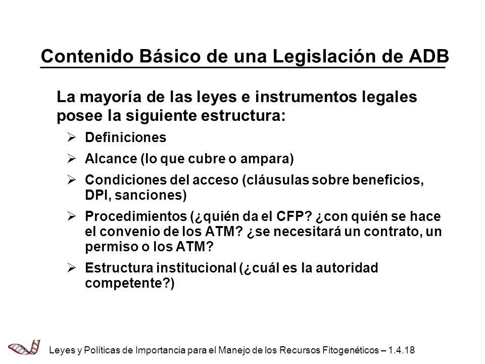 Contenido Básico de una Legislación de ADB