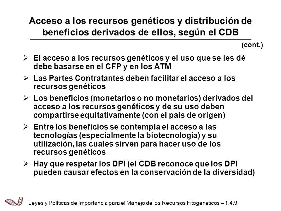 Acceso a los recursos genéticos y distribución de beneficios derivados de ellos, según el CDB