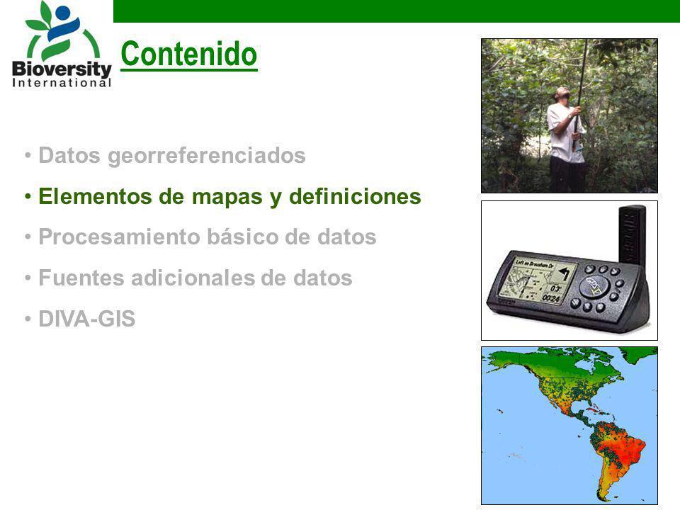 Contenido Datos georreferenciados Elementos de mapas y definiciones