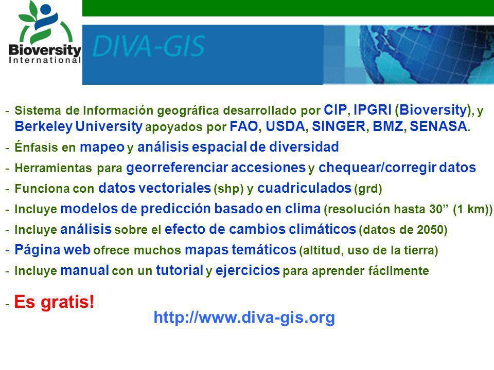 Sistema de Información geográfica desarrollado por CIP, IPGRI (Bioversity), y Berkeley University apoyados por FAO, USDA, SINGER, BMZ, SENASA.