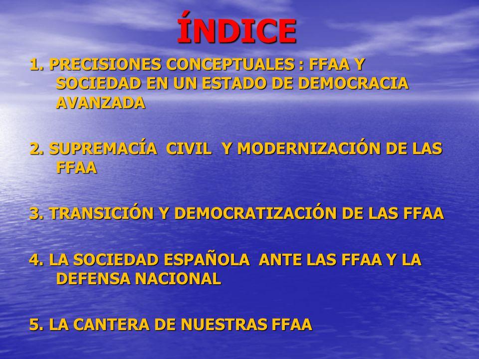 ÍNDICE 1. PRECISIONES CONCEPTUALES : FFAA Y SOCIEDAD EN UN ESTADO DE DEMOCRACIA AVANZADA. 2. SUPREMACÍA CIVIL Y MODERNIZACIÓN DE LAS FFAA.