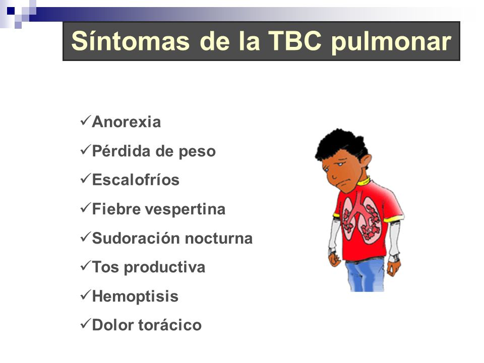 Síntomas de la TBC pulmonar