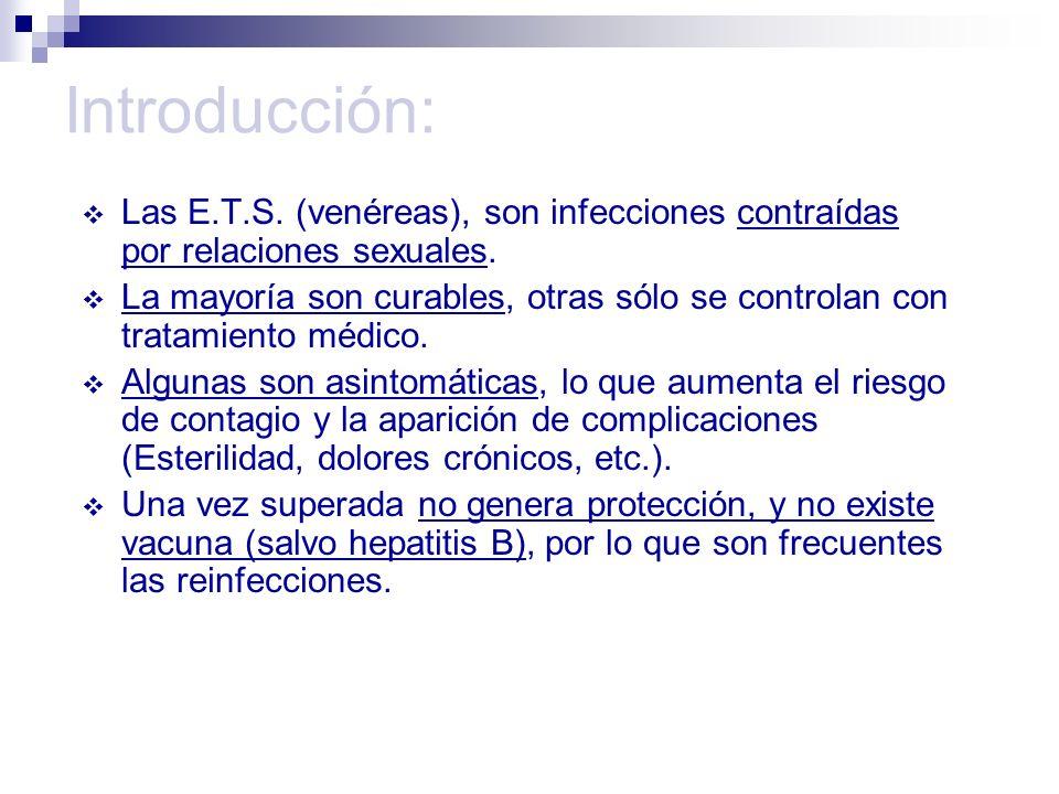 Introducción:Las E.T.S. (venéreas), son infecciones contraídas por relaciones sexuales.