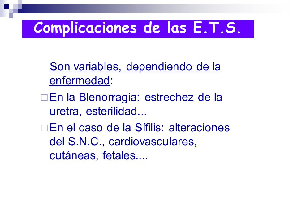 Complicaciones de las E.T.S.