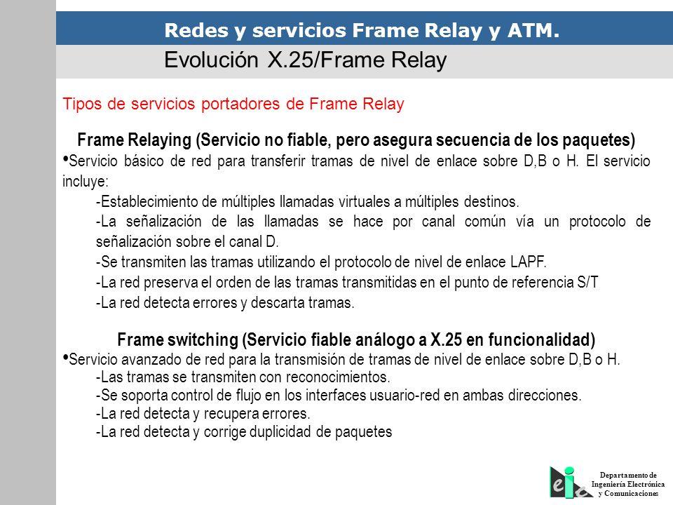 Frame switching (Servicio fiable análogo a X.25 en funcionalidad)