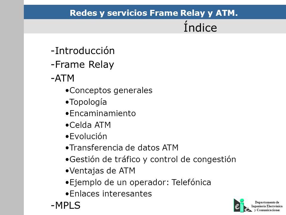 Índice -Introducción -Frame Relay -ATM -MPLS Conceptos generales