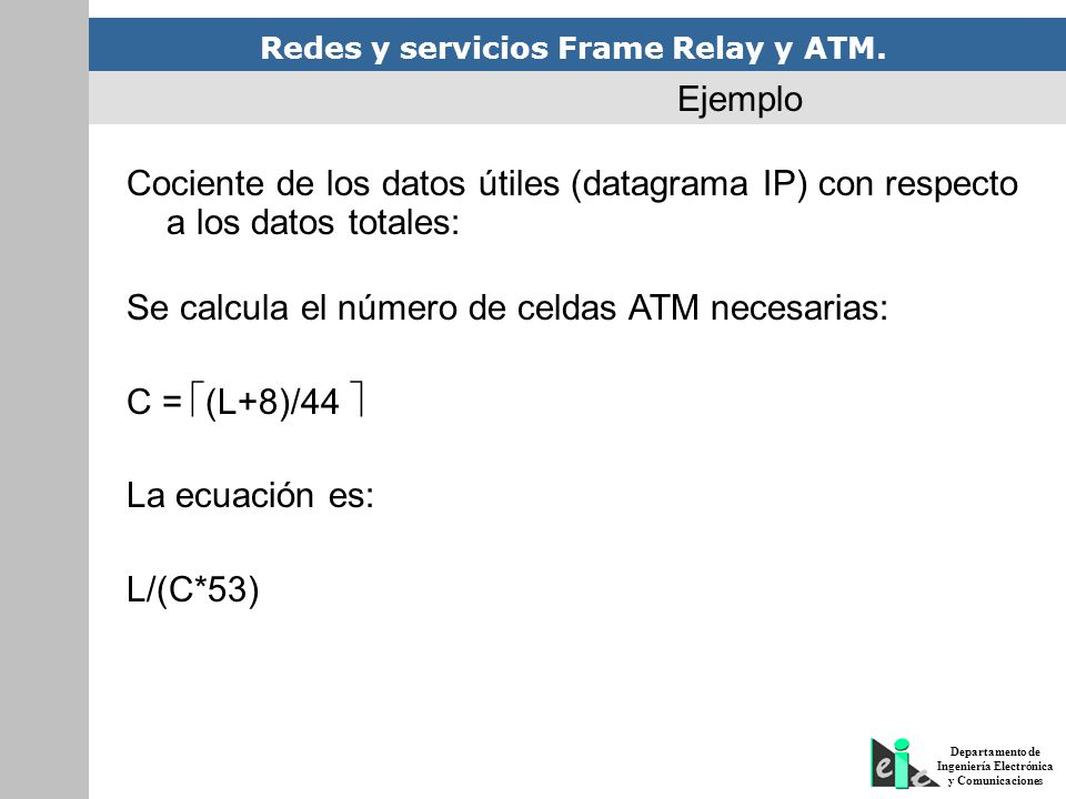 Ejemplo Cociente de los datos útiles (datagrama IP) con respecto a los datos totales: Se calcula el número de celdas ATM necesarias: